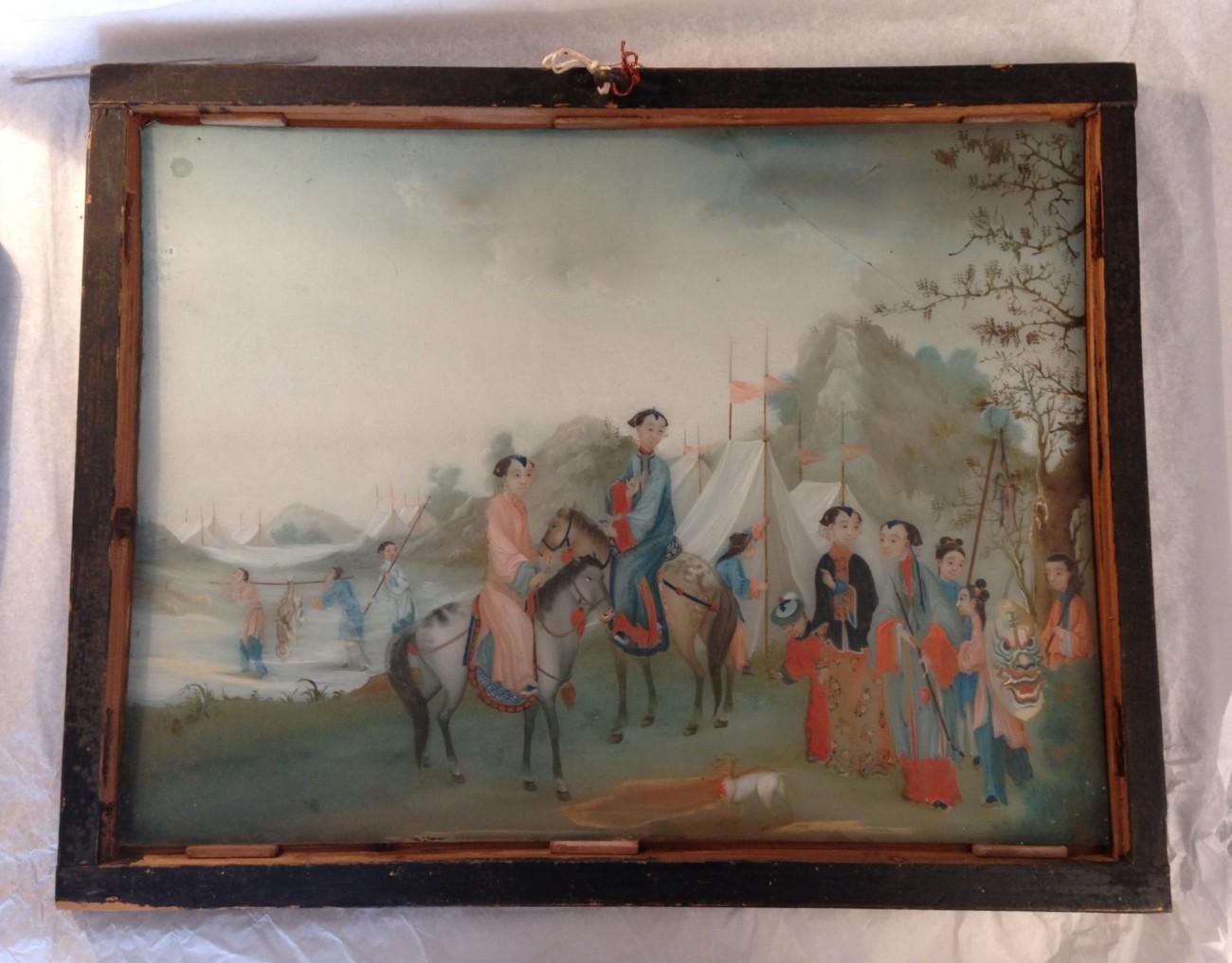 Restauration d'une peinture sous verre