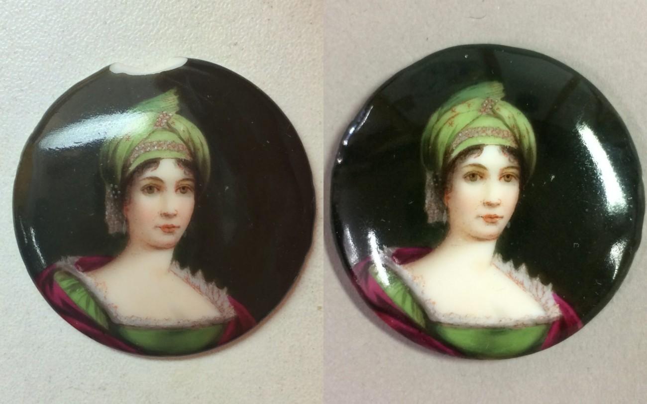 Restauration d'un coupelle en verre avec médaillon portrait en porcelaine peinte