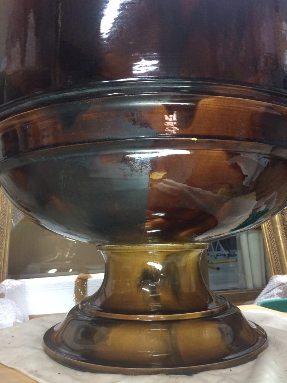 Potiche monumentale en grès émaillé