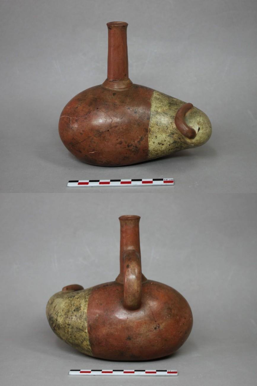 Restauration d'une terre cuite d'Amérique, époque précolombienne (?), culture Mochica (100-700 av. J.-C.)