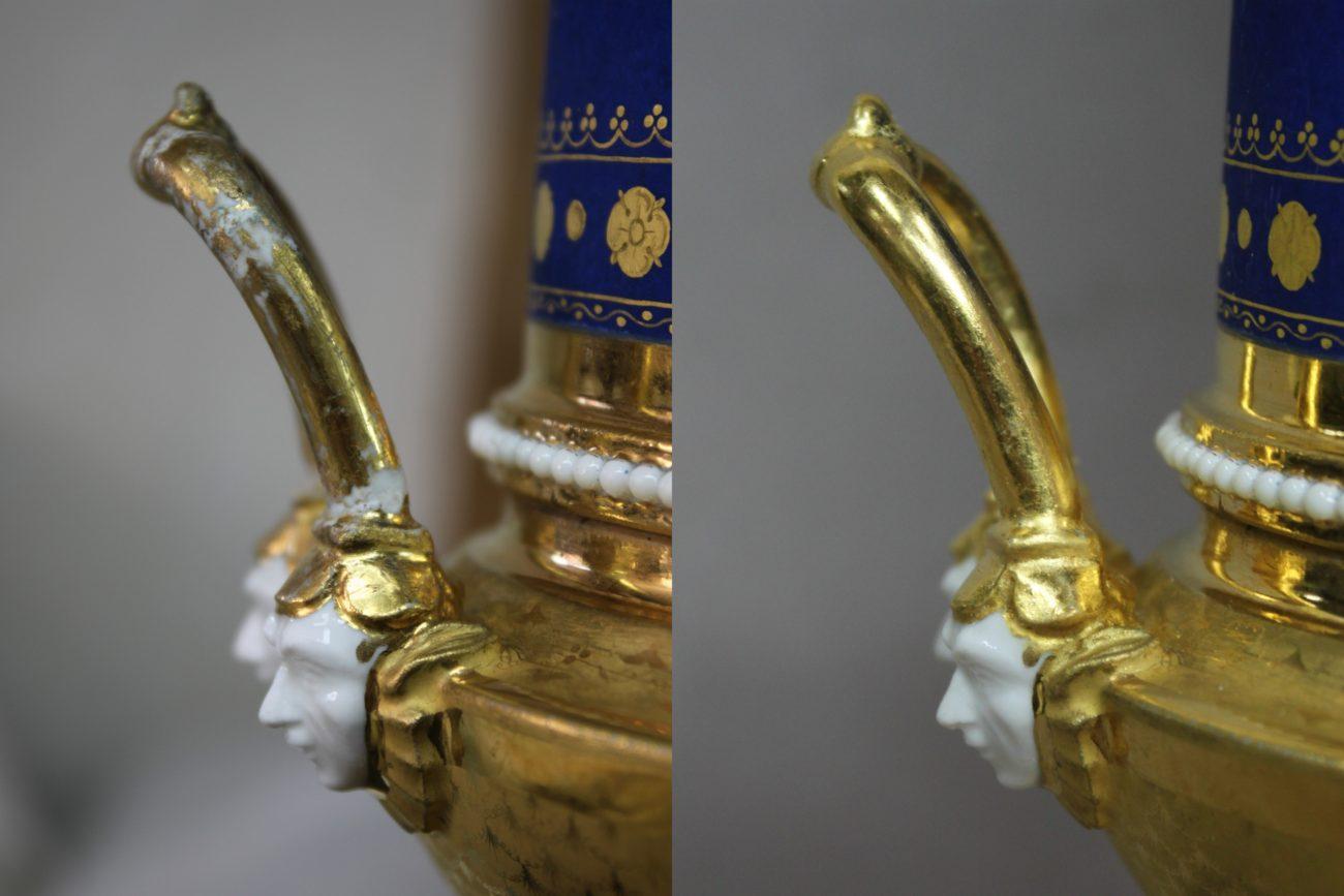 Restauration d'une paire de vases dorés du 19ème siècle