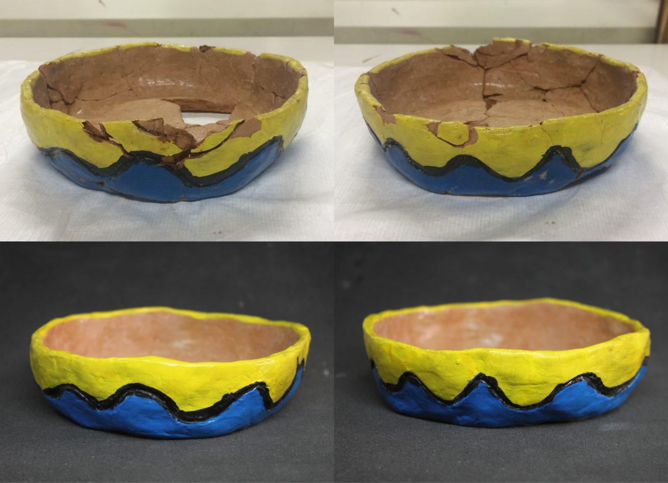 Restauration d'une coupelle en terre crue peinte à l'acrylique