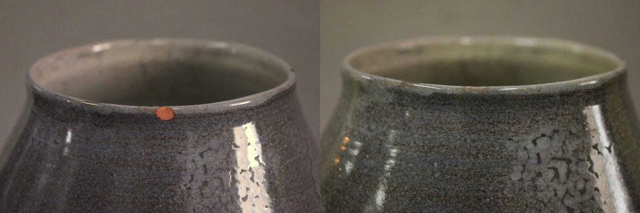 Restauration d'un vase en céramique d'Yves Suzanne