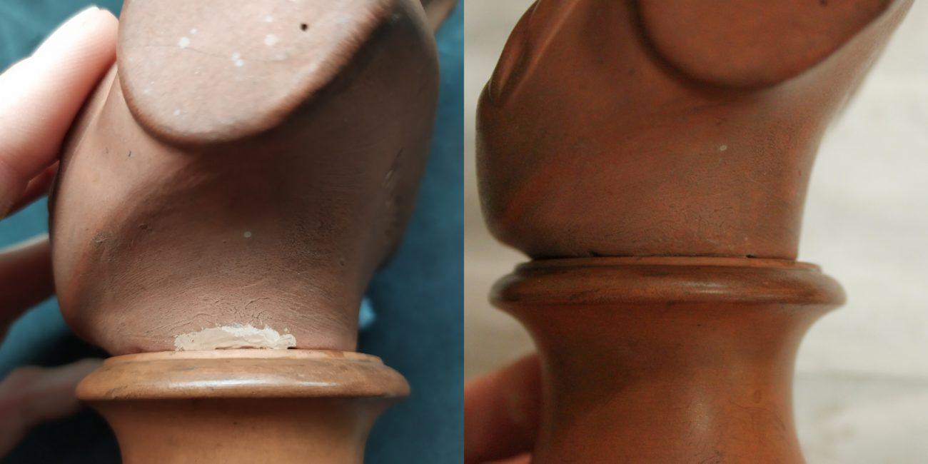Restauration d'un buste en terre cuite de jeune fille