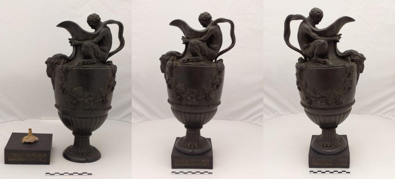 Restauration d'un vase amphore de la manufacture de Wedgwood, fin 18ème siècle