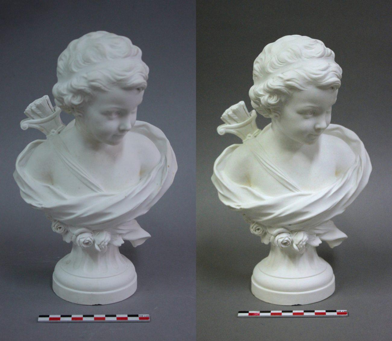 Restauration d'un buste de Cupidon par Agathon Léonard
