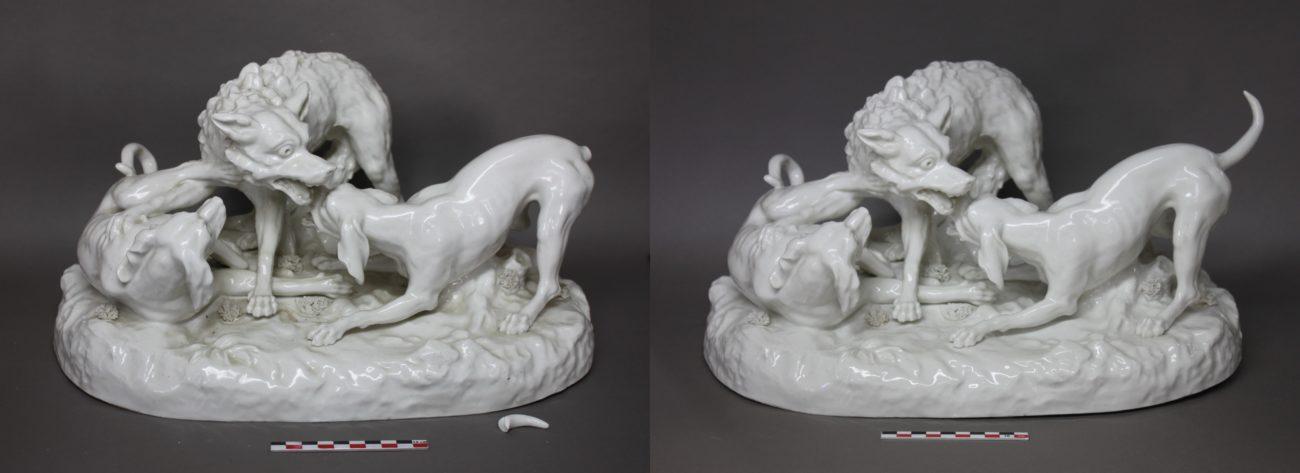 Groupe en porcelaine avec scène de chasse d'après Jean-Baptiste Oudry